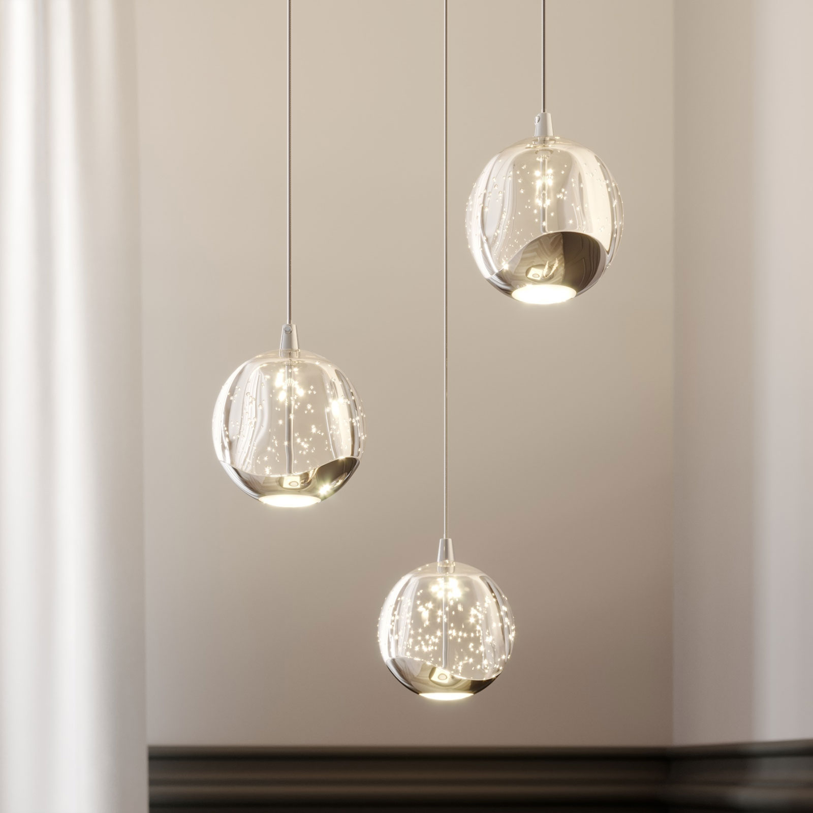 LED-pendellampe Hayley, 3 lyskilder, krom