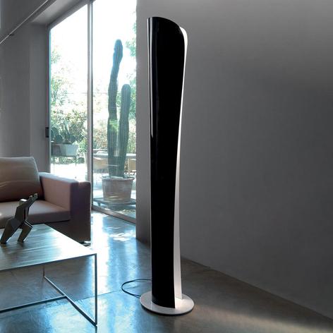 Zwart-witte LED vloerlamp Cadmo, 2.700 K
