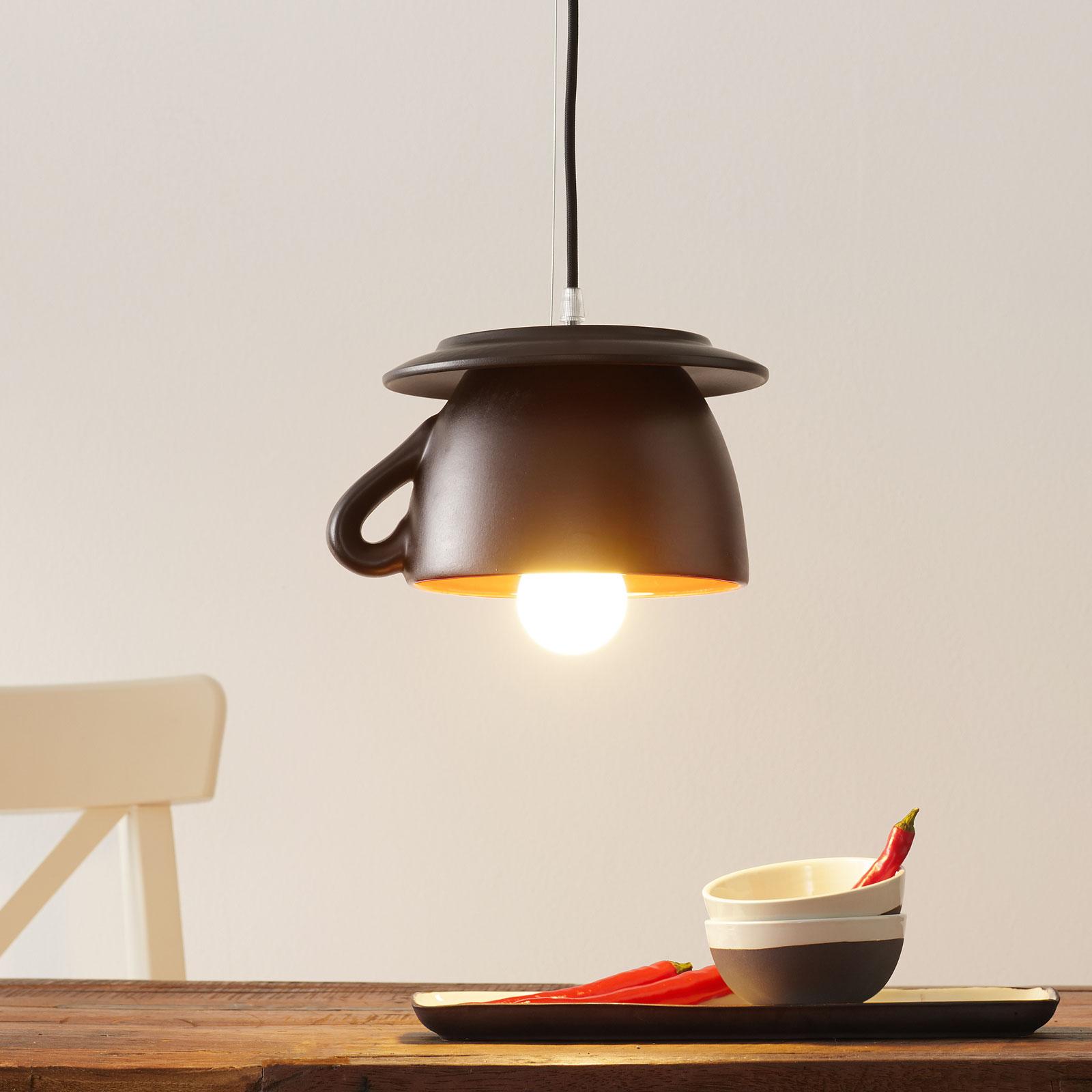 Ceramiczna lampa wisząca w kształcie filiżanki