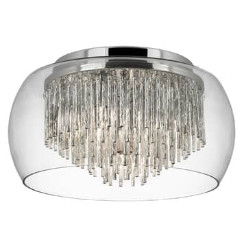 Curva loftlampe af glas med alu-spiraler