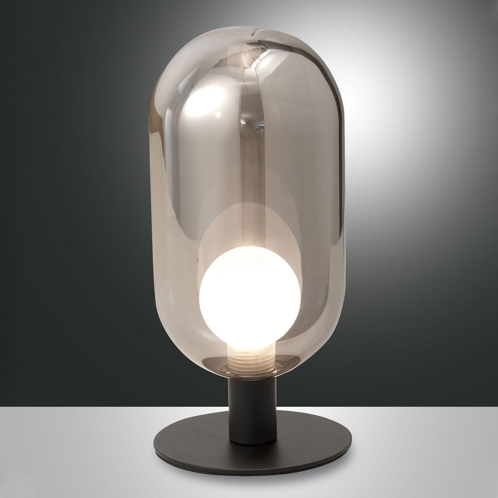 LED tafellamp Gubbio, ovale glazen kap, rook