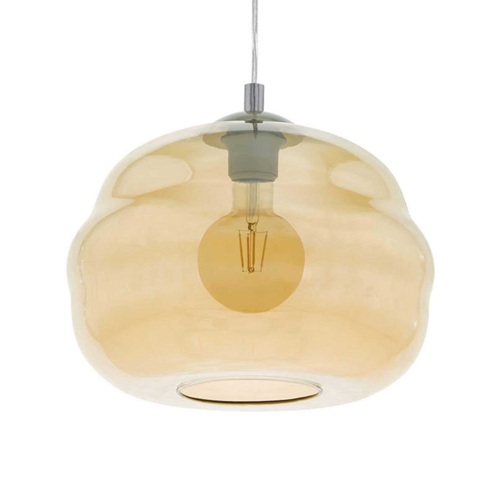 Hanglamp Dogato met glazen kap in Amber