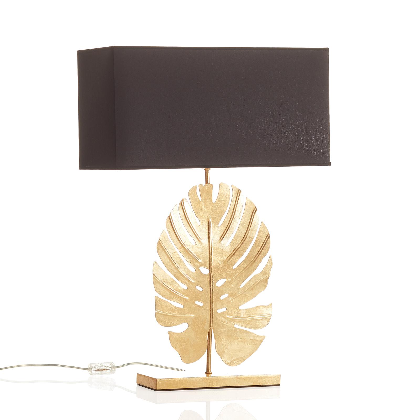 Designerska lampa stołowa Lizia złoto-czarna
