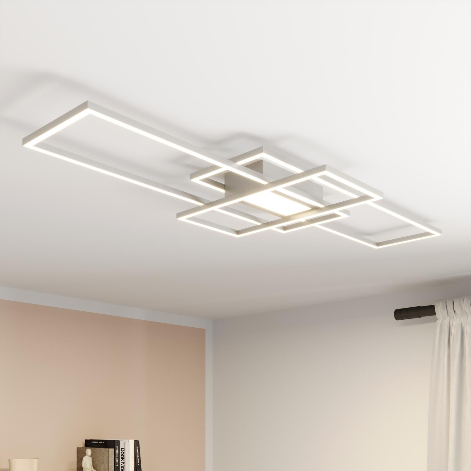 Lindby Mairin lámpara LED de techo, níquel mate