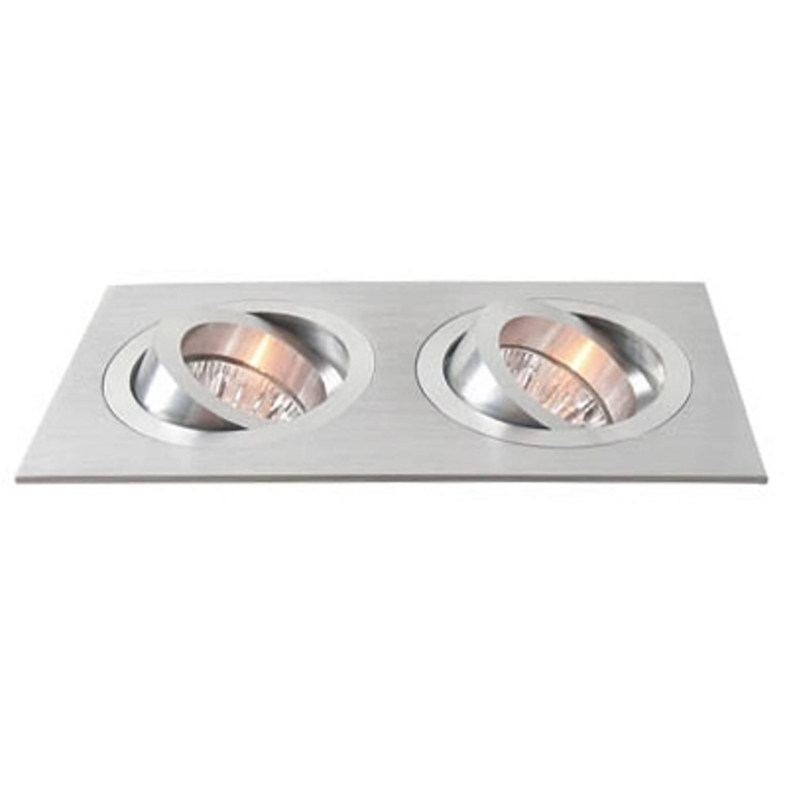 2-lichts aluminium inbouwspot zwenkbaar