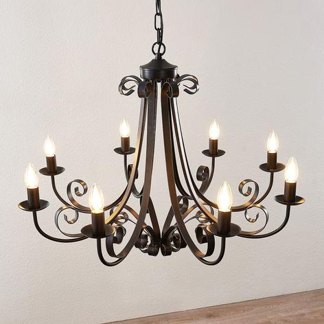 Lindby Scaleria luster, 8 svetiel, hnedý