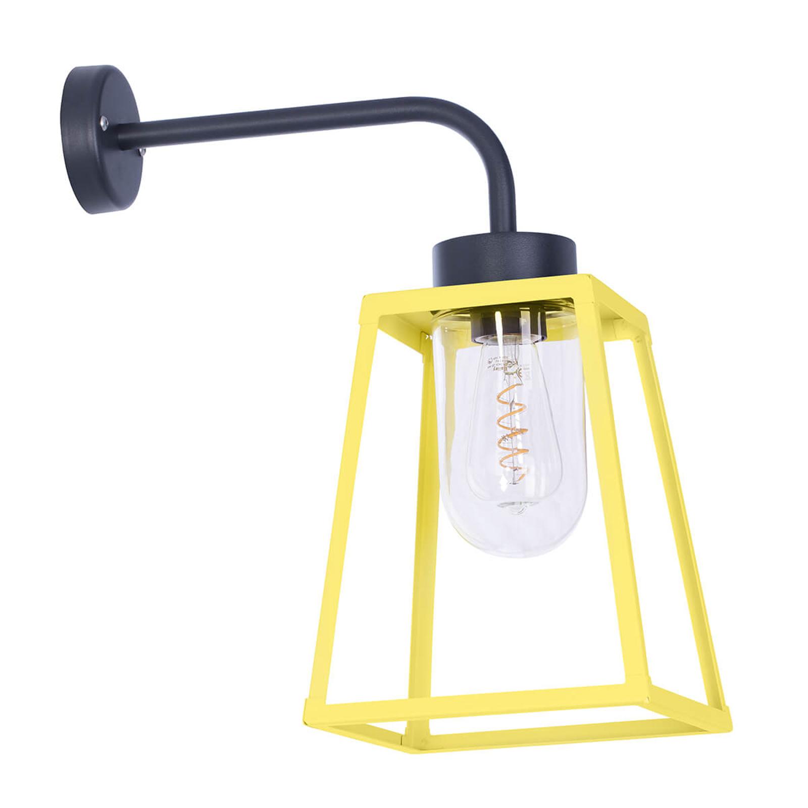 Außenwandleuchte Lampiok in Laternenform, gelb