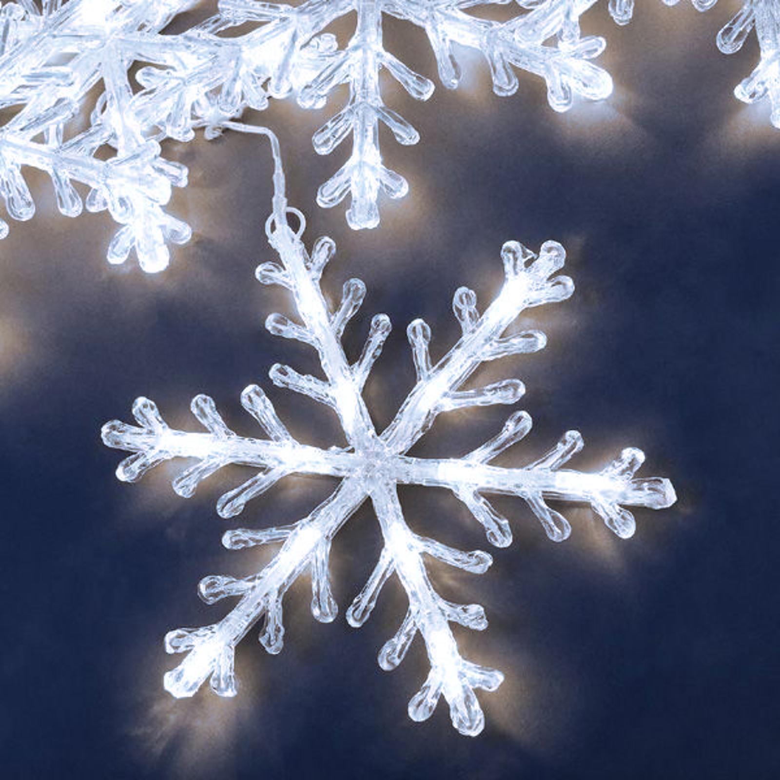 Schneeflocken Lichterkette 5fl. LED, tageslicht 4m