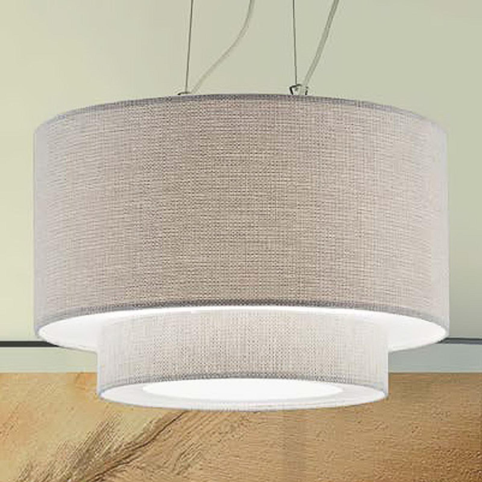 Lampa wisząca Morfeo z kremem klosz tekstylny krem