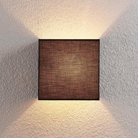Stoffen wandlamp Adea, 25 cm, vierkant, zwart
