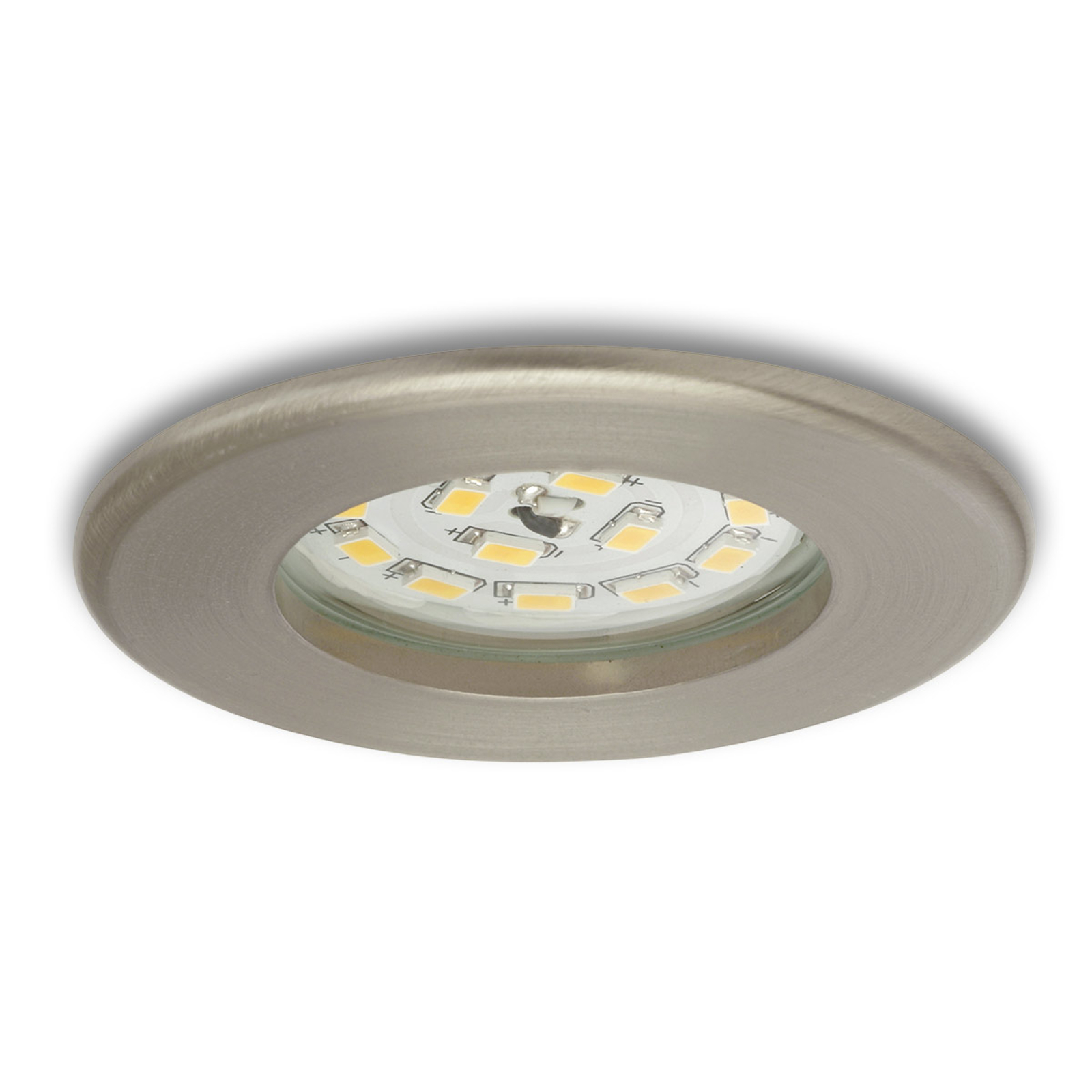 Efficiente downlight LED Nikas IP44 nichel