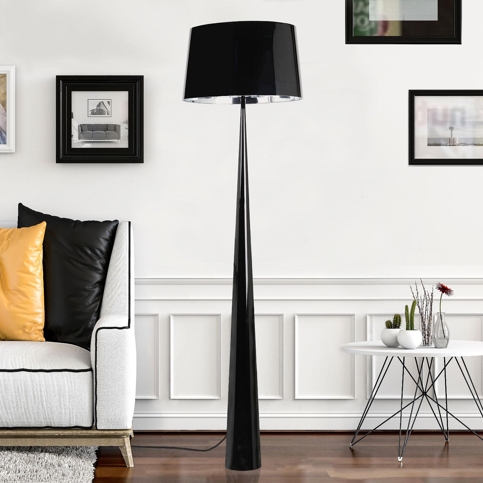 Vloerlamp Totem LS met chroom-finish, zwart