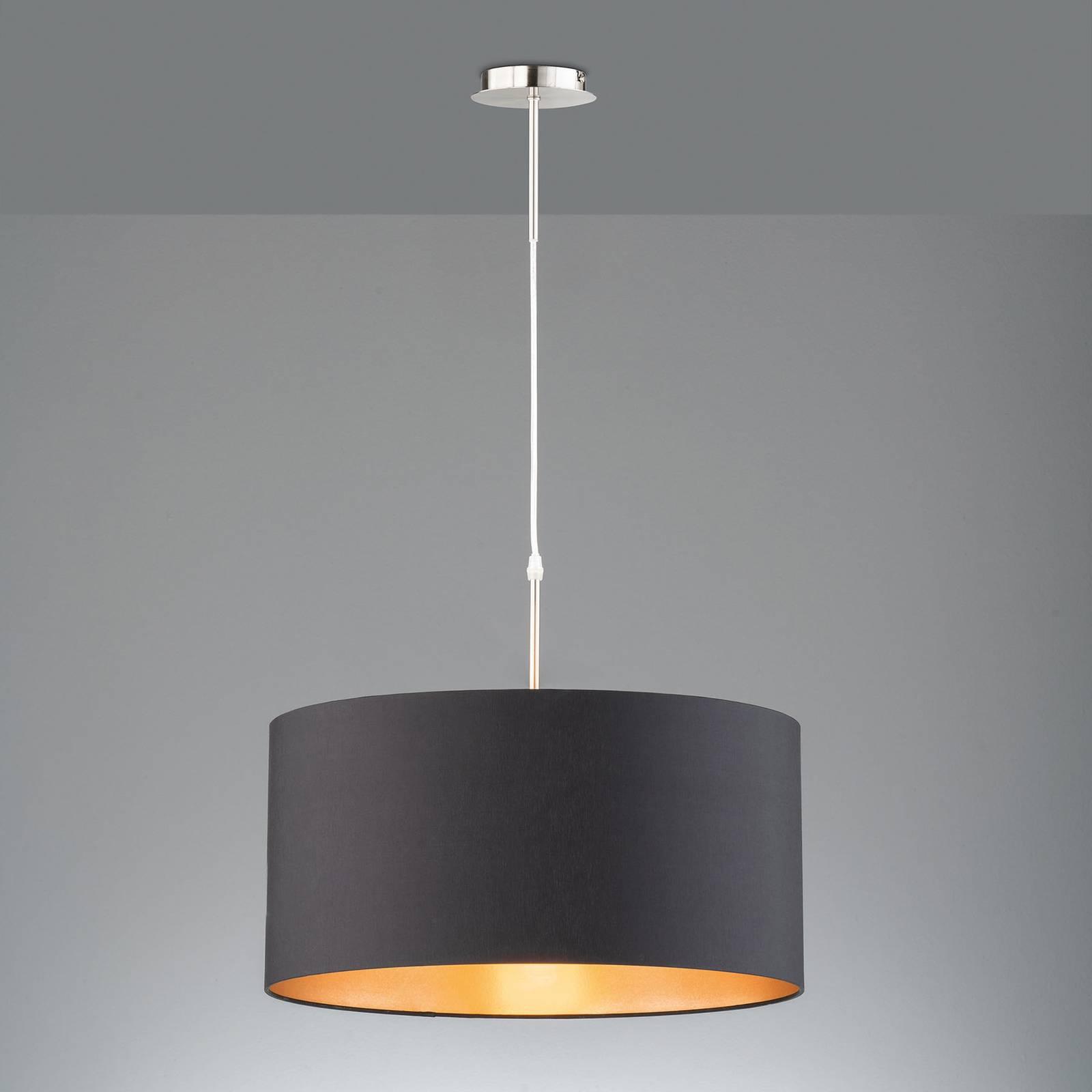 Lampa wisząca Marie, tekstylny klosz, czarna Ø50cm