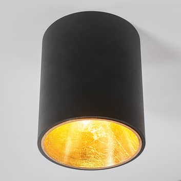 Czarno-złota lampa sufitowa LED Juma, okrągła