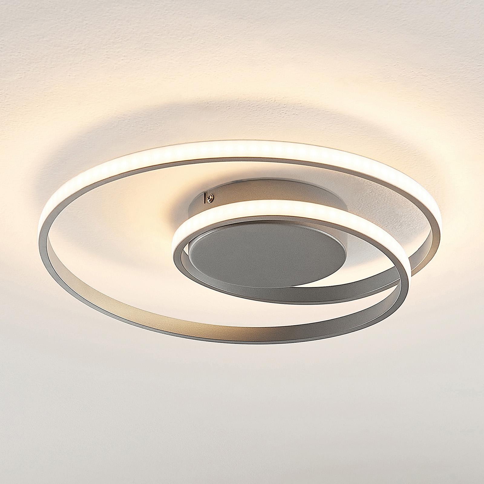 Lindby Kyron lampa sufitowa LED, srebrna tytanowa