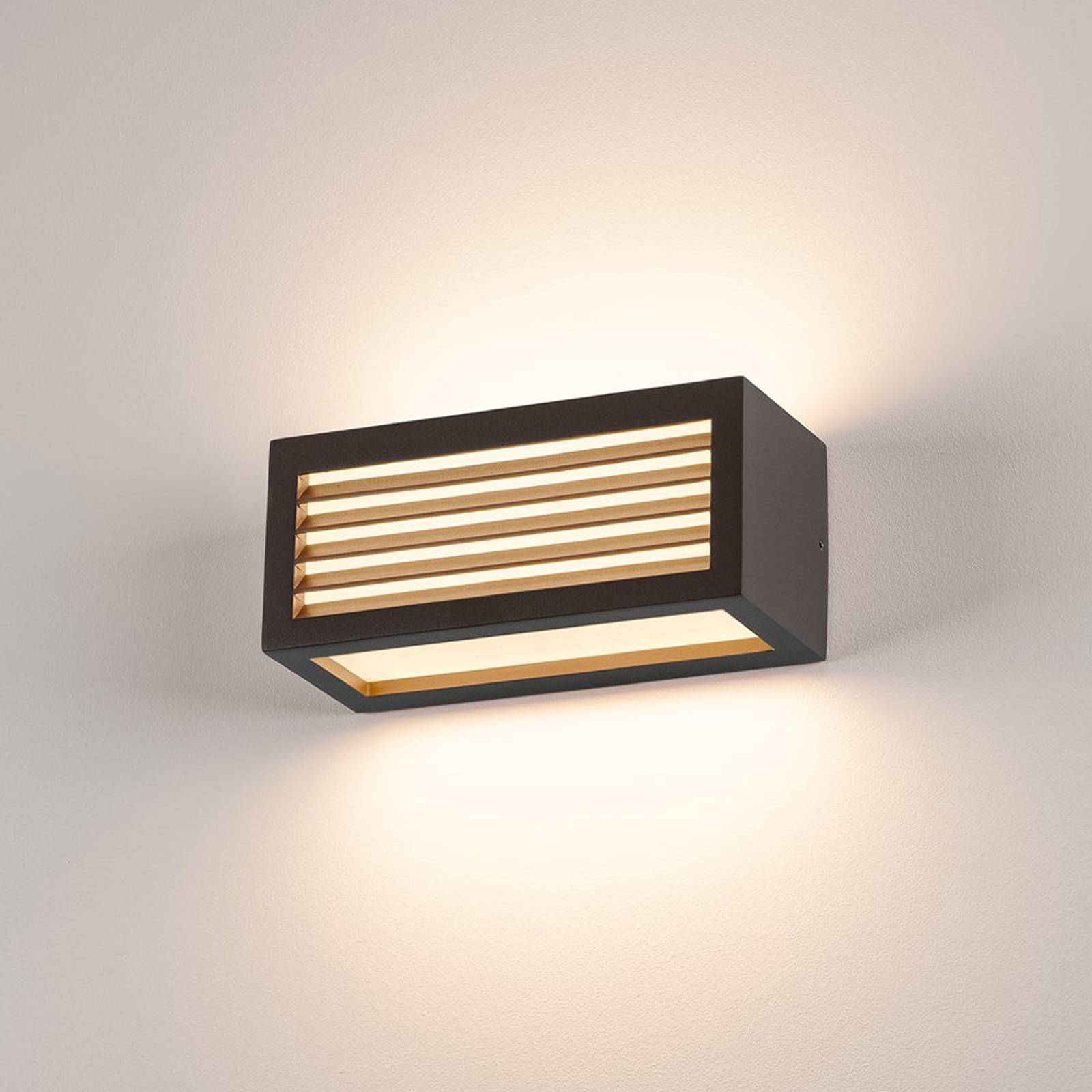 Antracietkleurige outdoor wandlamp box L E27