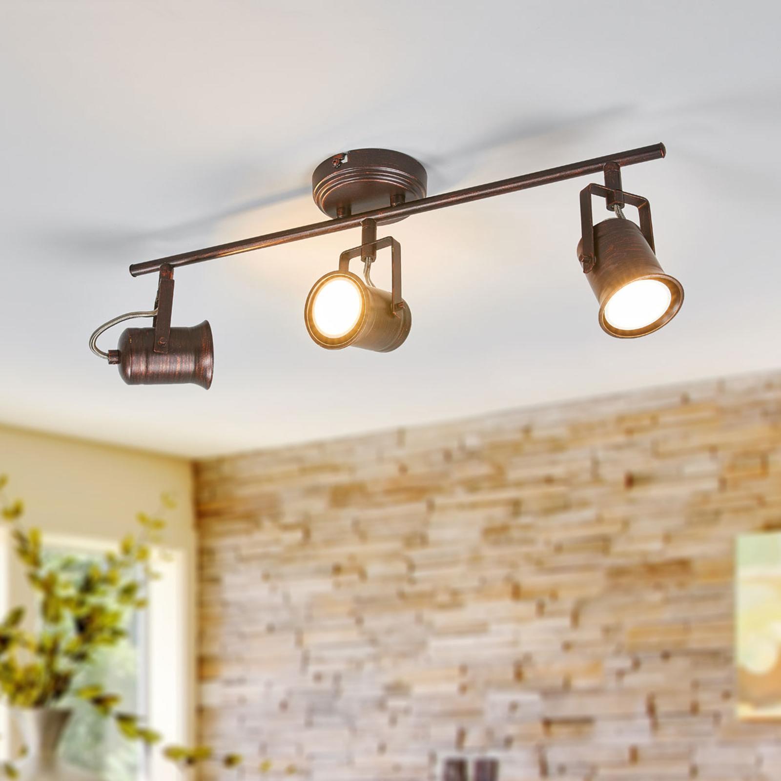 Lámpara LED de techo Cansu rústica en marrón
