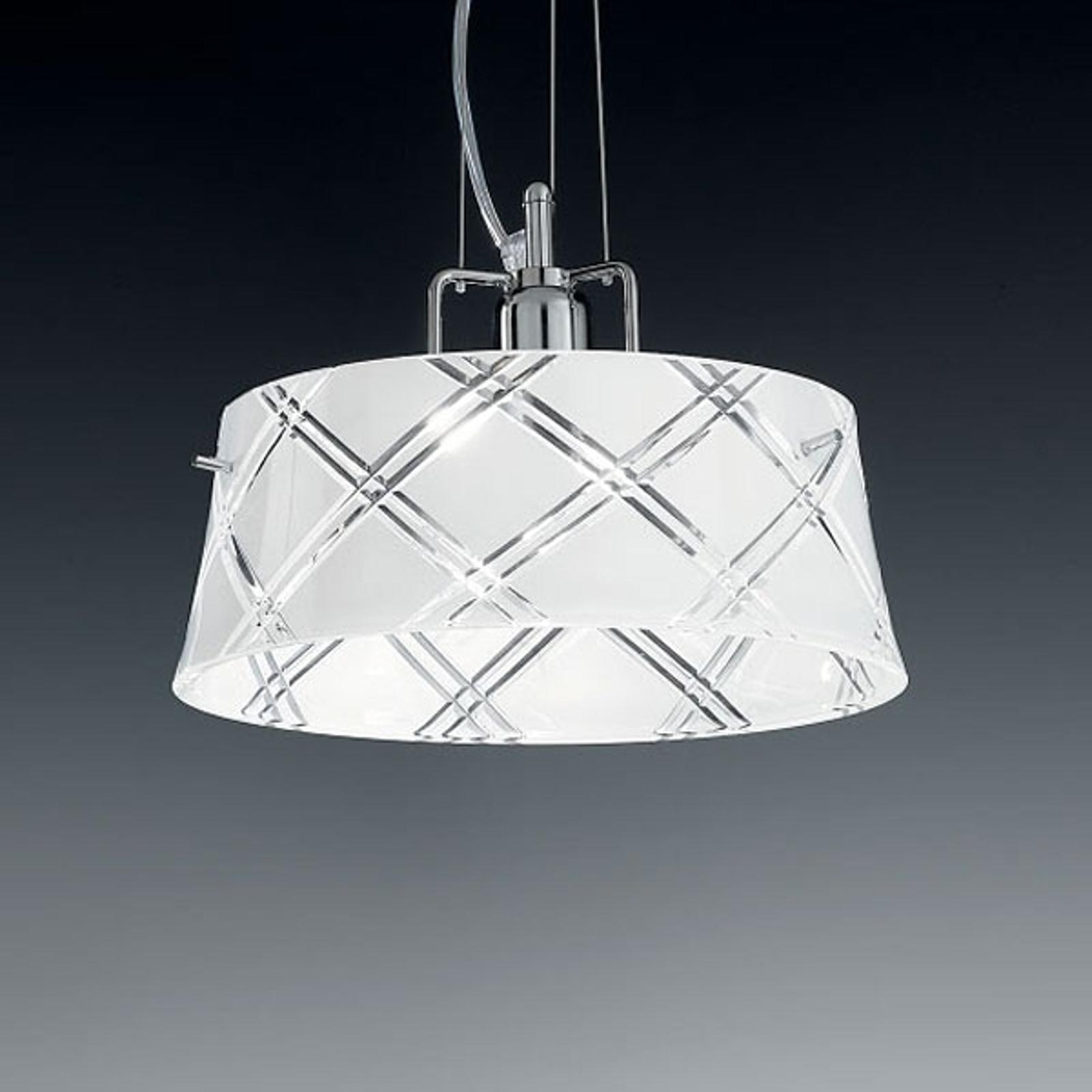 Elegant hengelampe CORALLO 30, 1 lys, hvit
