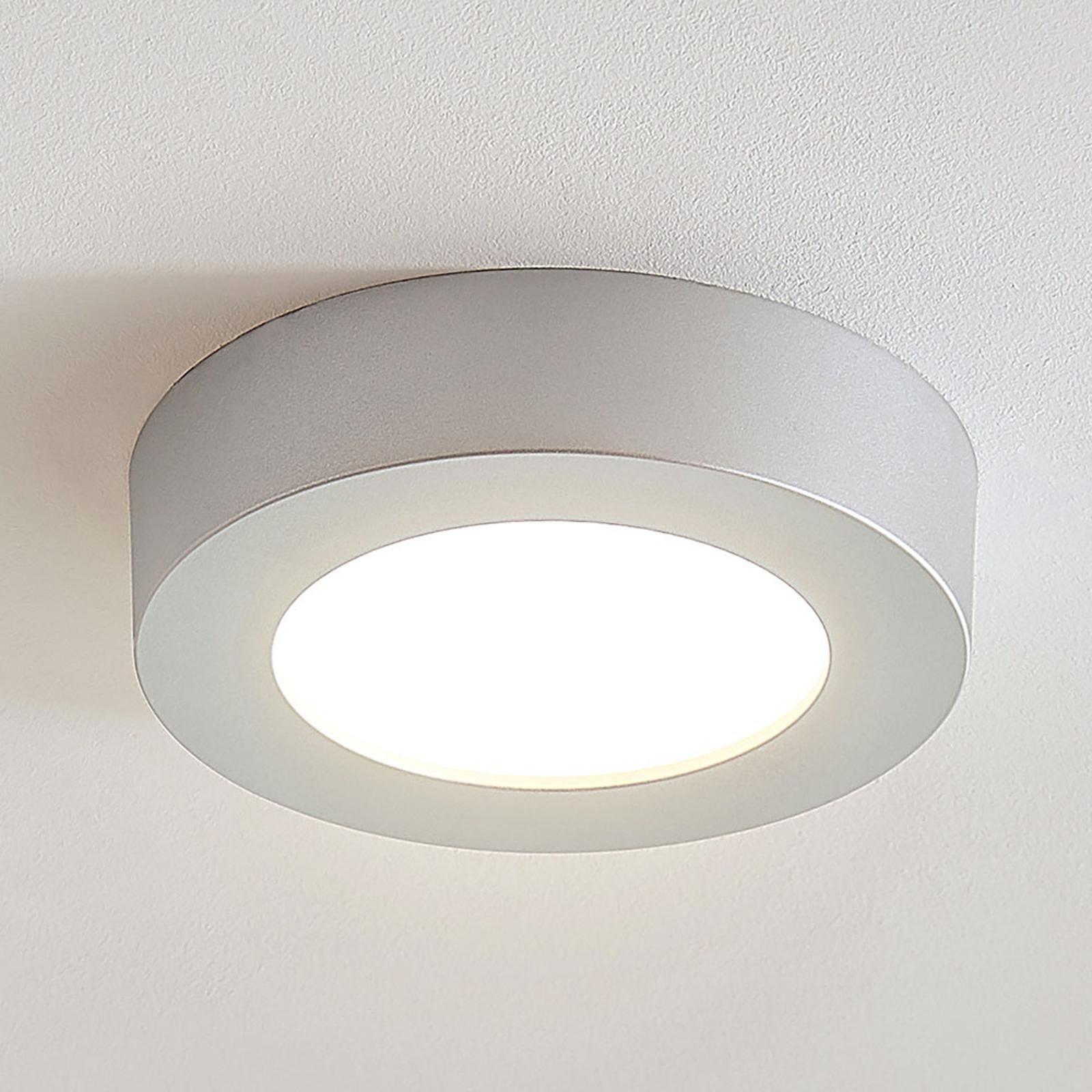 Plafoniera LED Marlo argento 3.000K rotonda 18,2cm