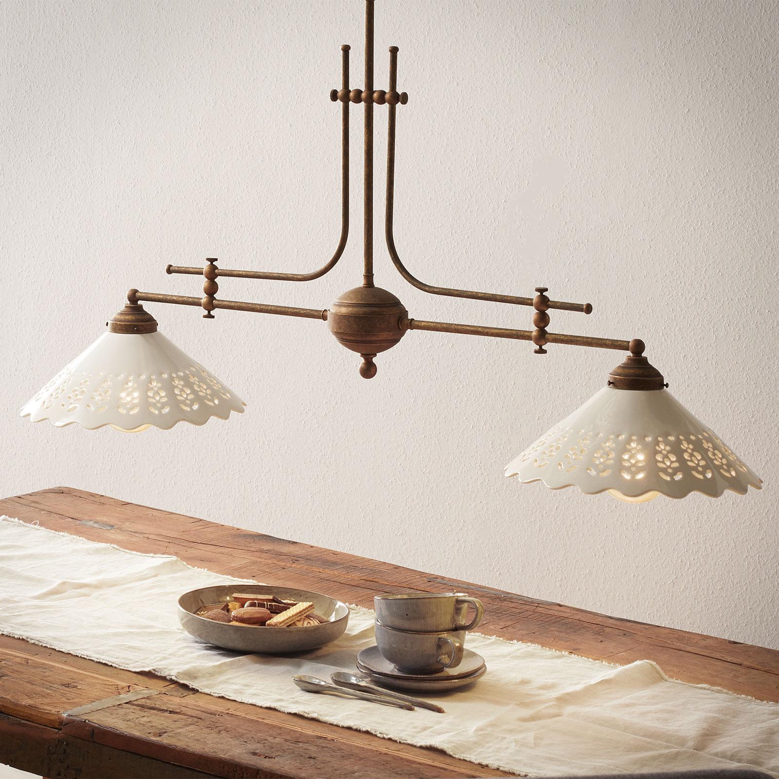 Lámpara colgante Pizzo con cadena, 2 luces