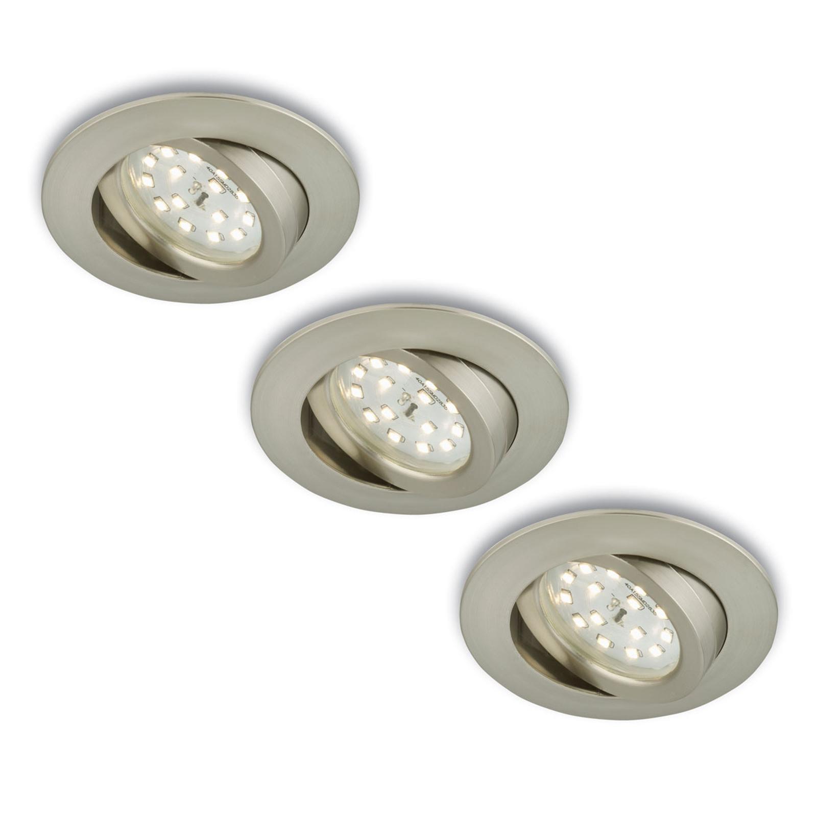 Drejelig LED-indbygningsspot, 3 stk., mat nikkel