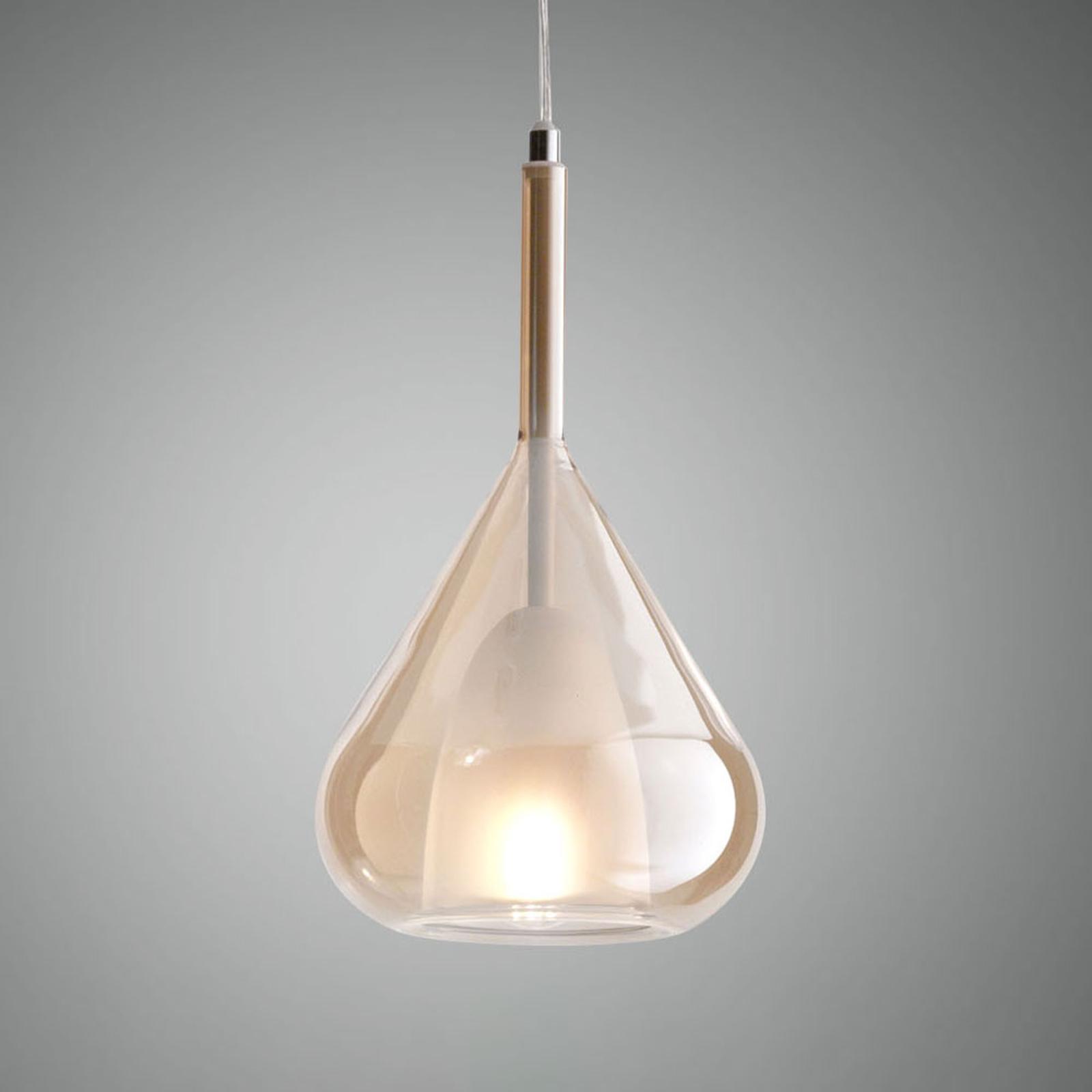 Hanglamp Lila van glas, 1-lamp, amber