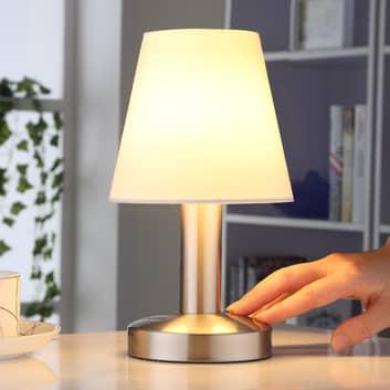 Lámpara de noche Hanno con pantalla de tela blanca