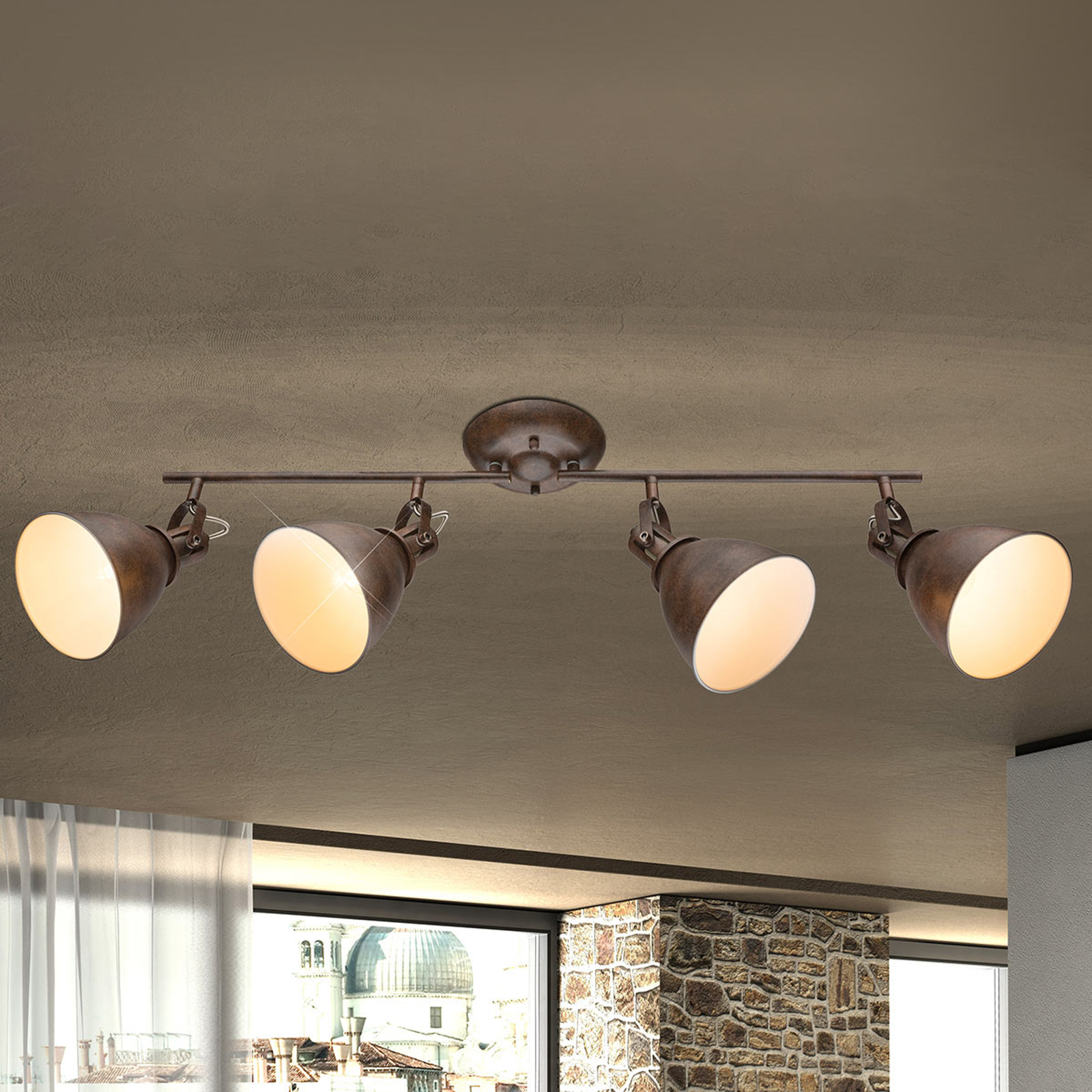 Giorgio - Plafonnier à 4 lampes en brun rouillé
