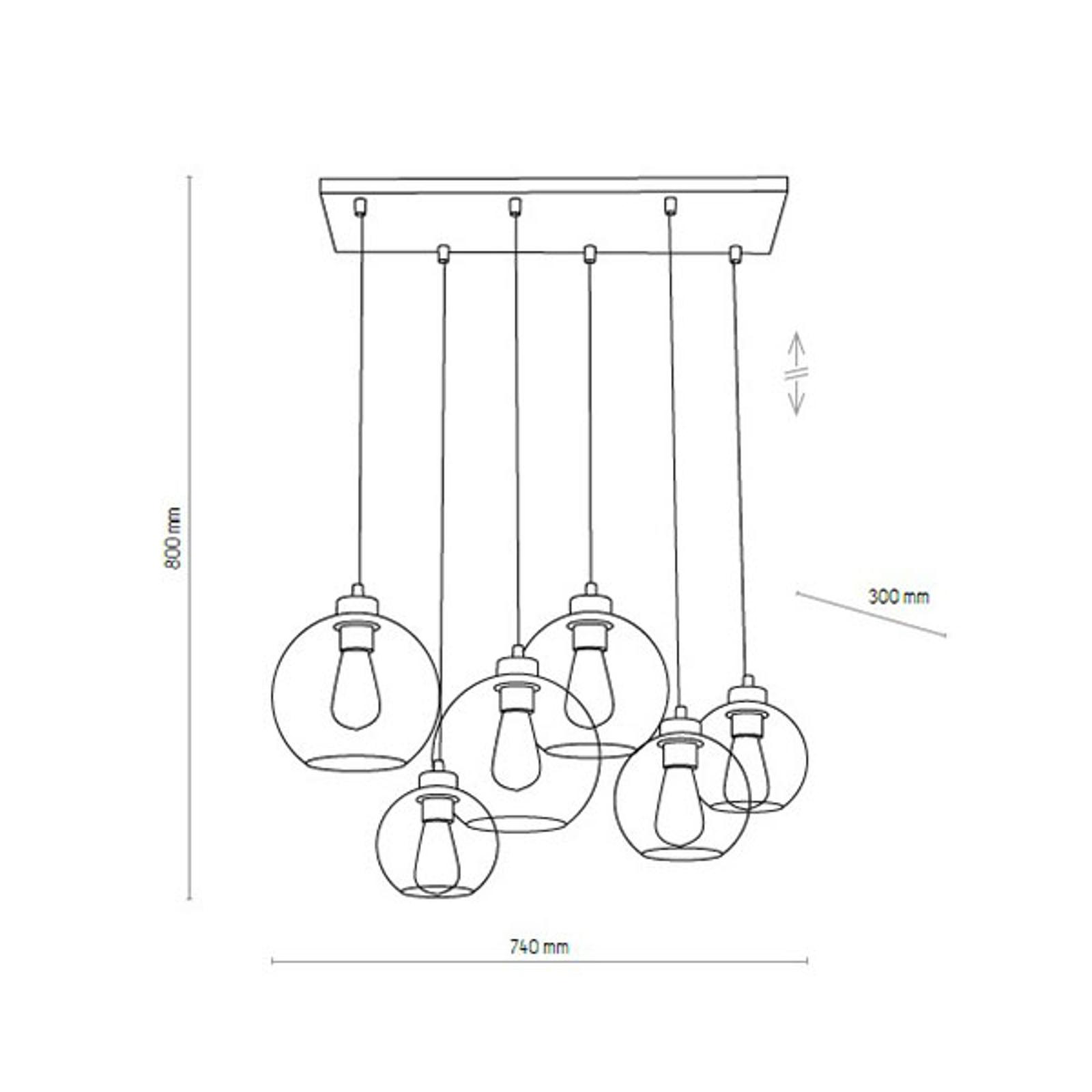 Lampa wisząca Cubus, 6-punktowa, grafitowa