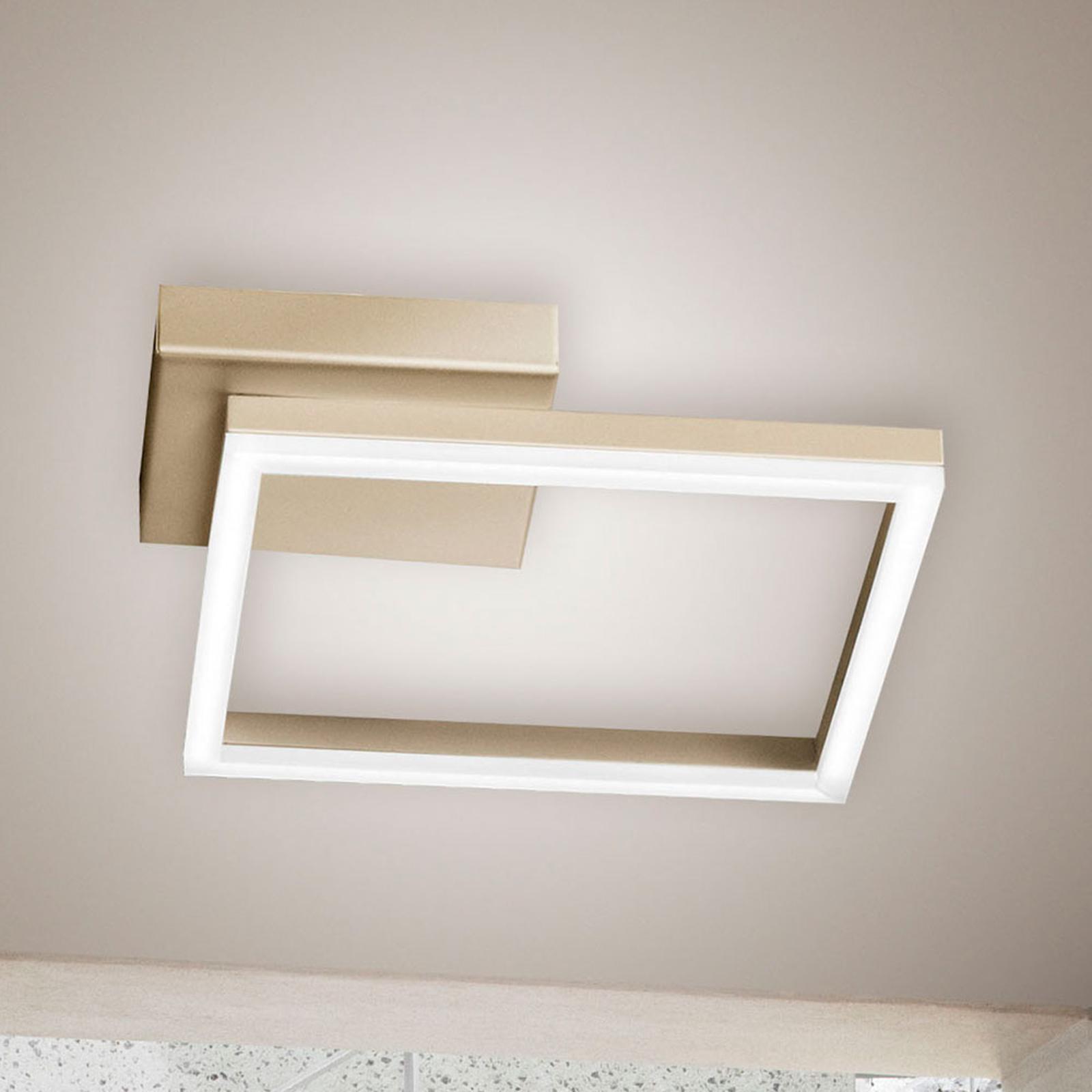 LED-Deckenleuchte Bard, 27x27cm, Mattgold-Finish