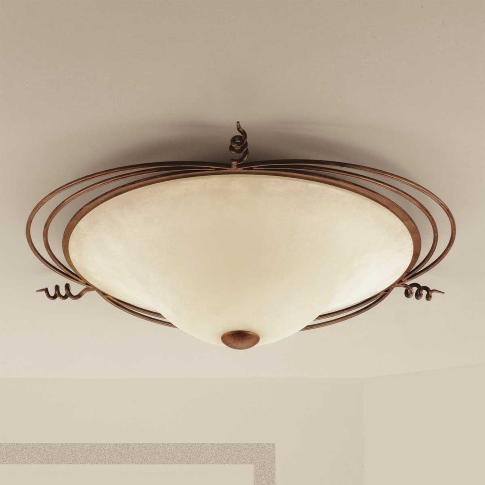 Landhuis-plafondlamp Daniele, antiek messing