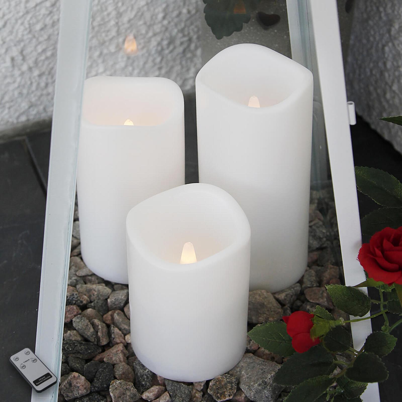 Utendørs LED-stearinlys i sett på tre