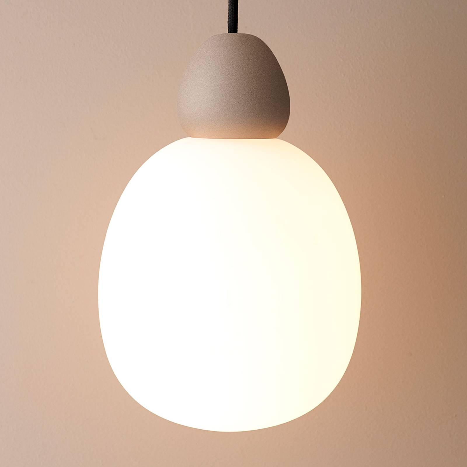 Glazen hanglamp Buddy ophanging zand