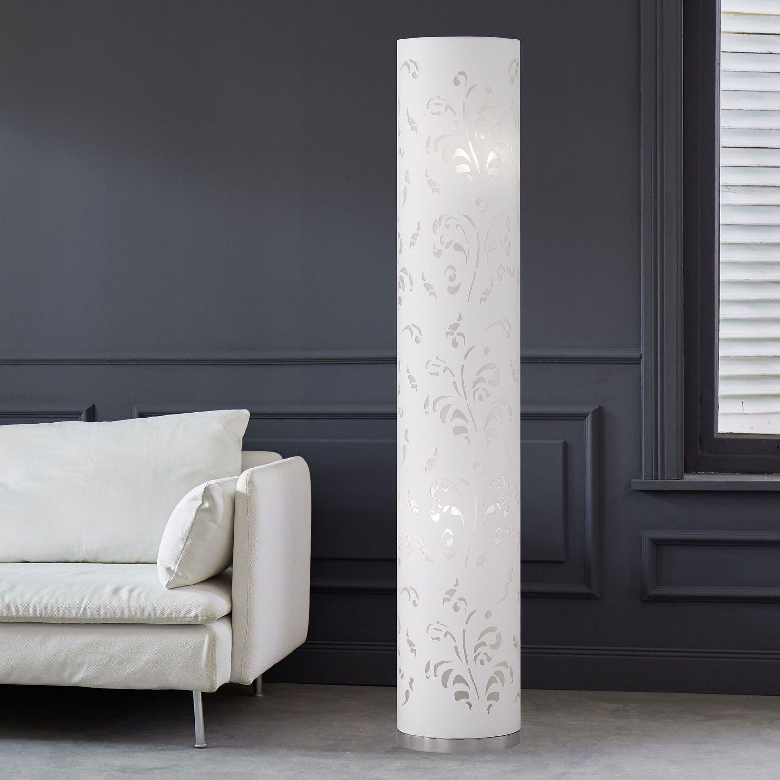 Slank gulvlampe Flora skærm hvid med dekorering