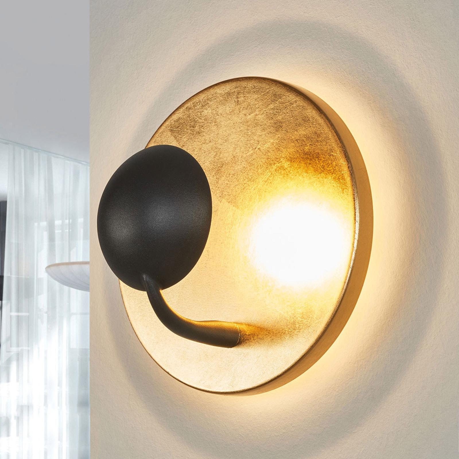 Extravagant LED-vägglampa Aurora svart-guld