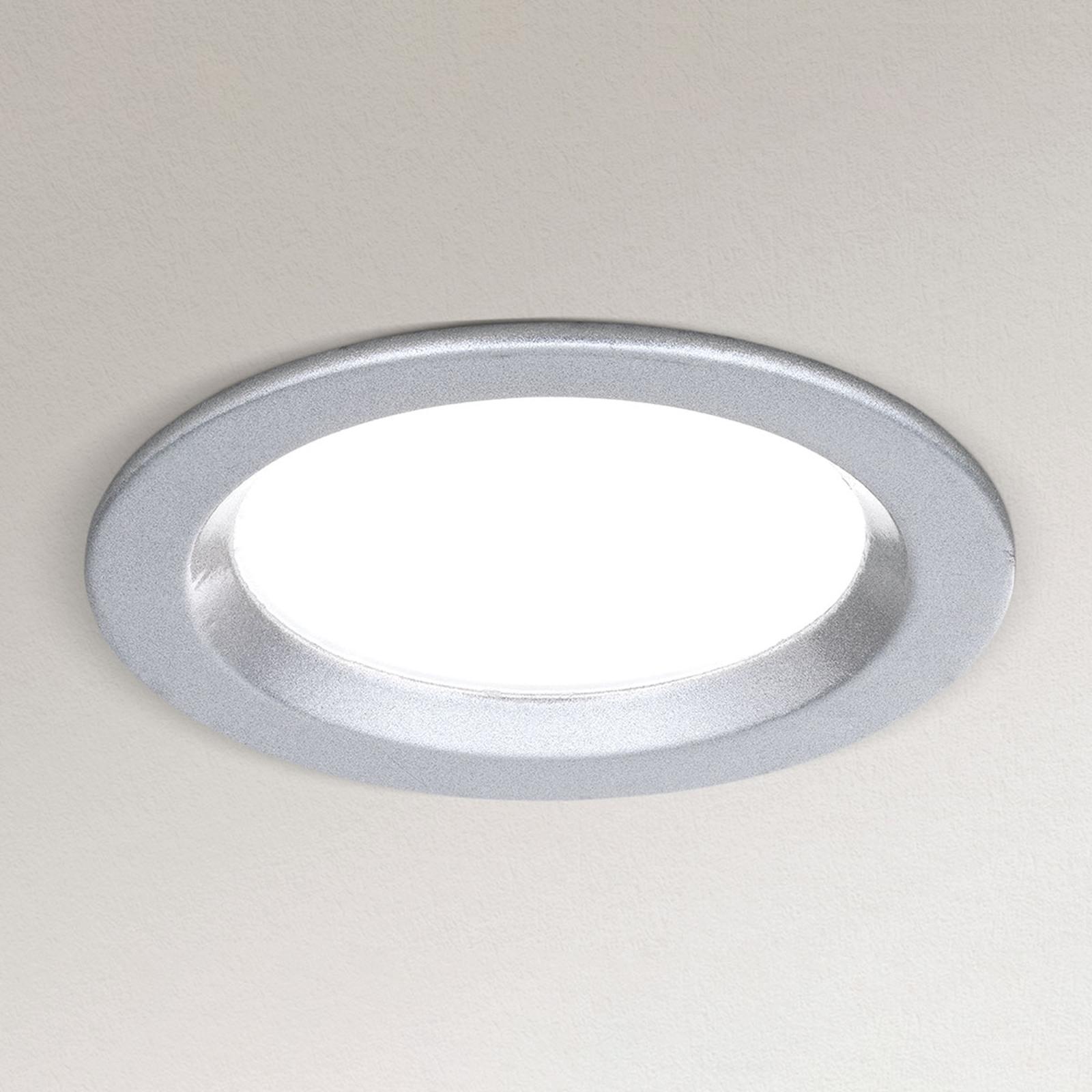 Dimbar LED-downlight Spock Ø 9 cm sølv