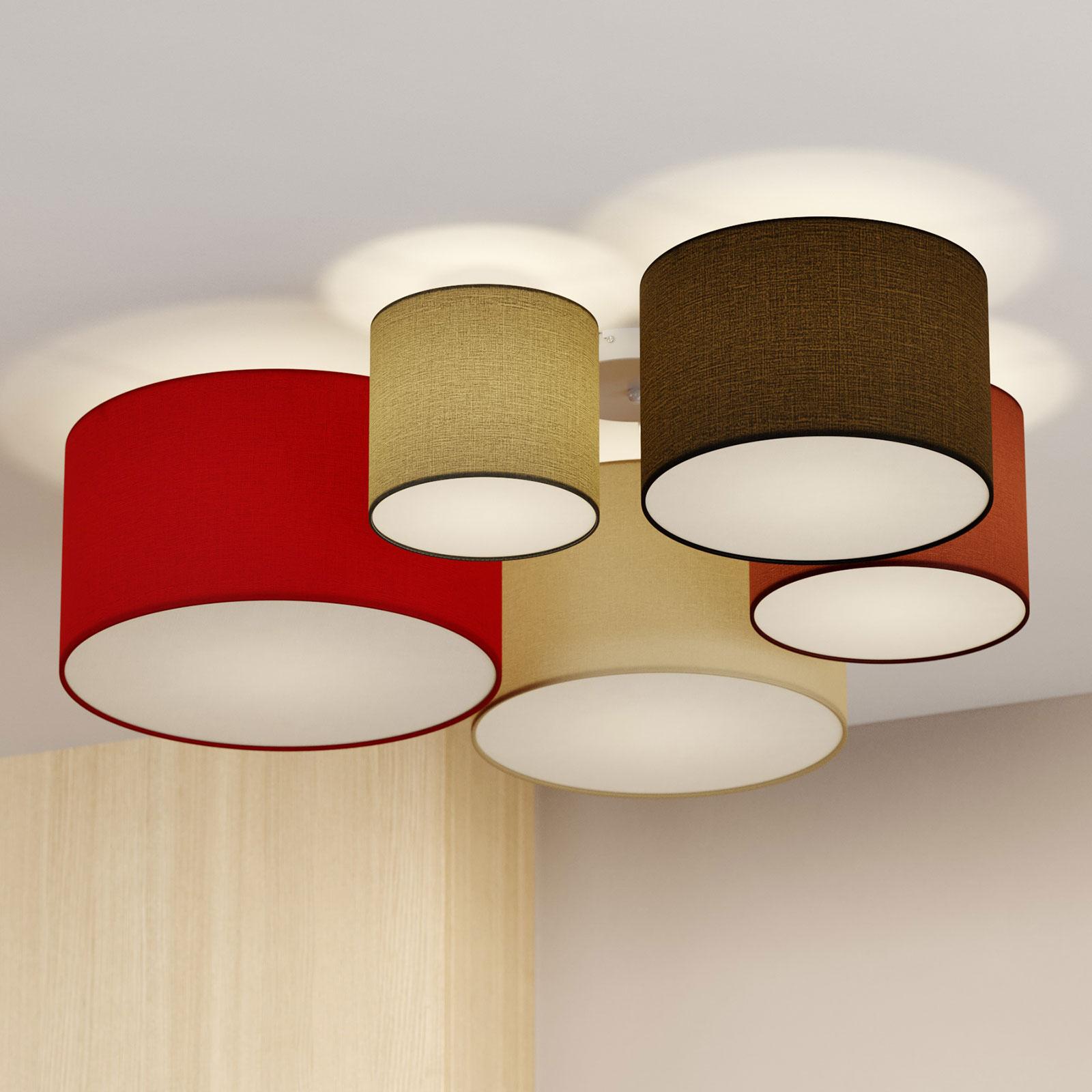 Lindby Laurenz taklampe, 5 lys 90cm rød-hvit