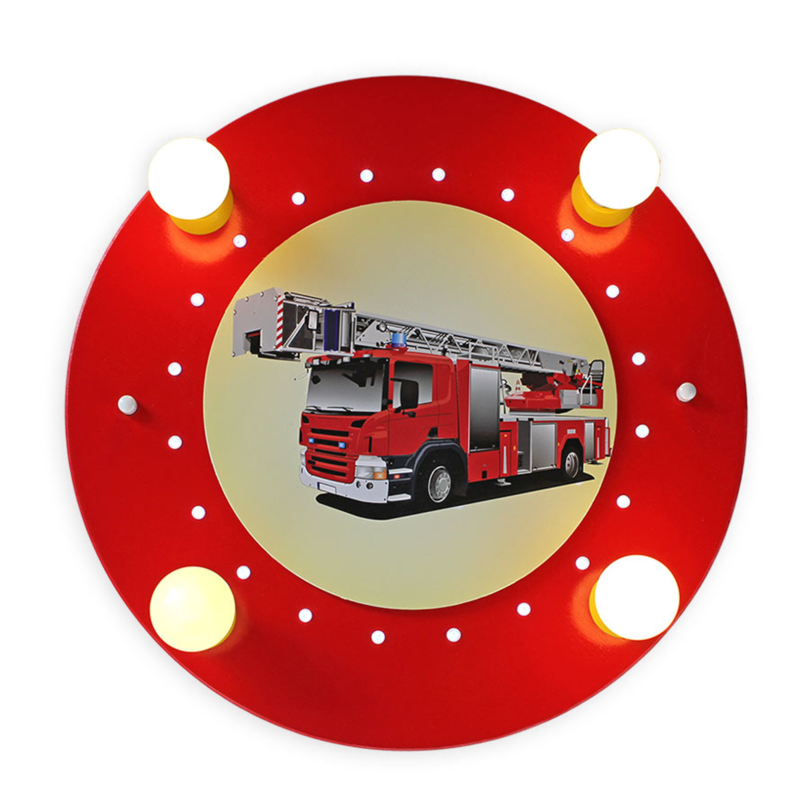 Deckenleuchte Feuerwehrauto, rot-gelb, vierflammig