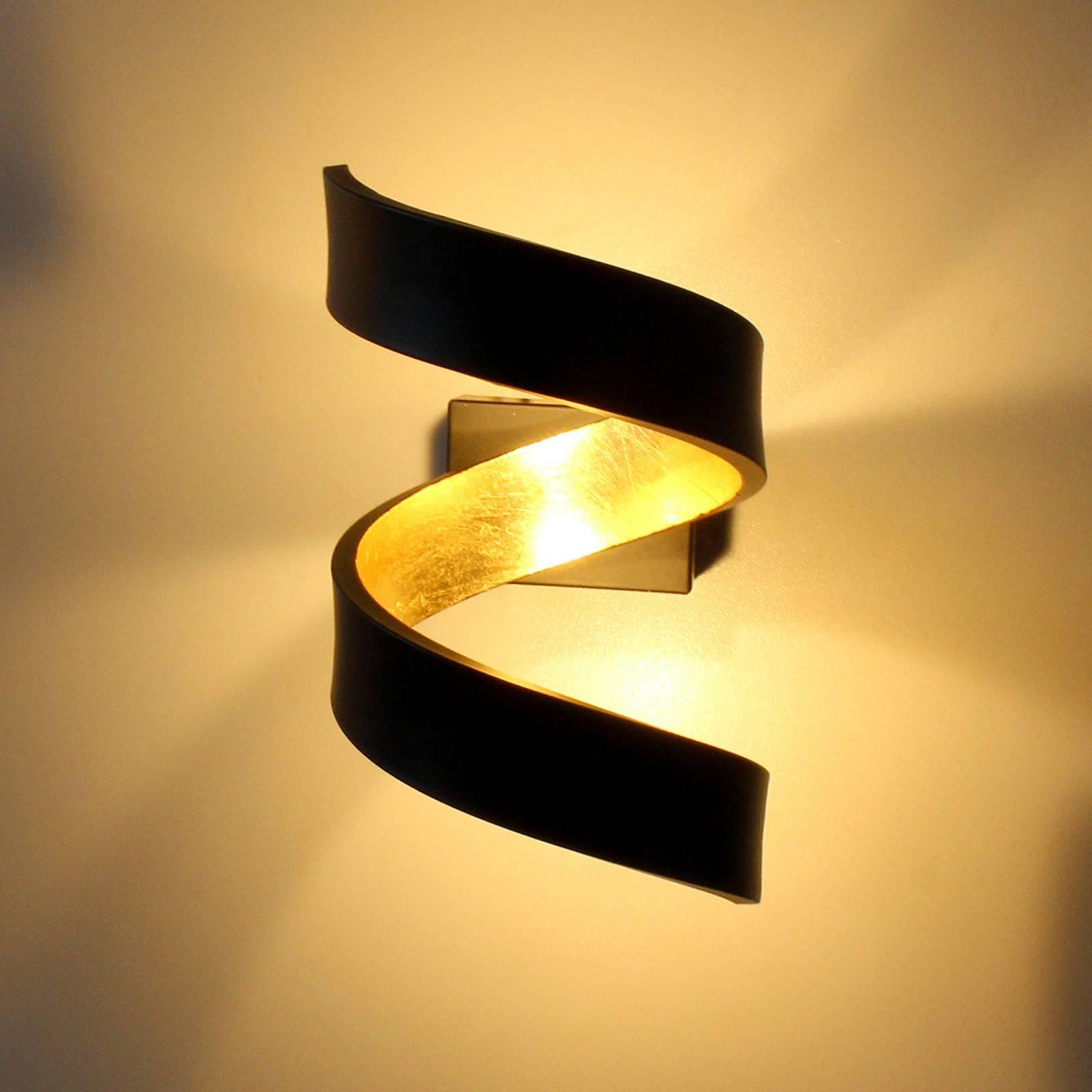 LED wandlamp Helix, zwart-goud, 17 cm