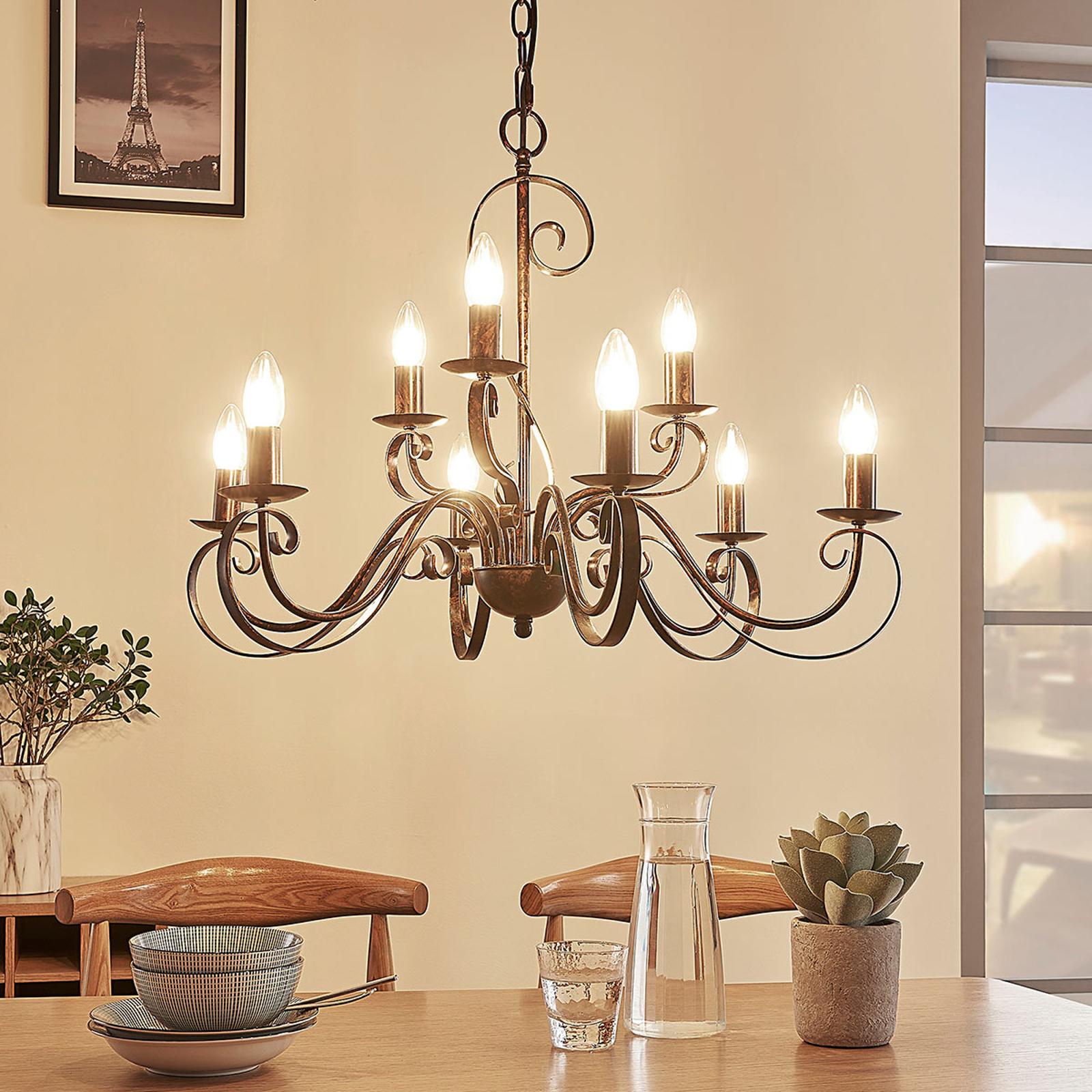 Lustre Caleb style champêtre à neuf lampes