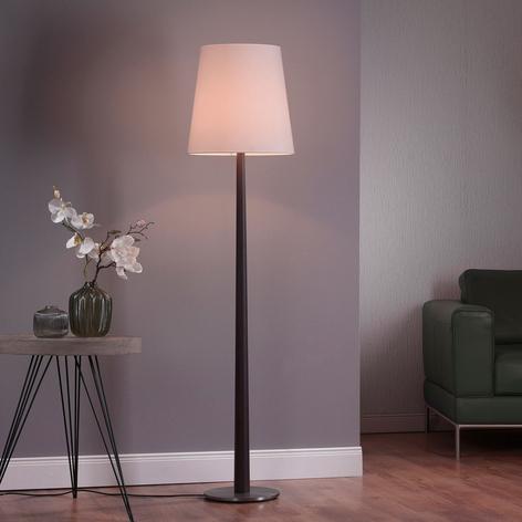 Lucande Elif stojaca lampa biela, kužeľ, dub tmavý