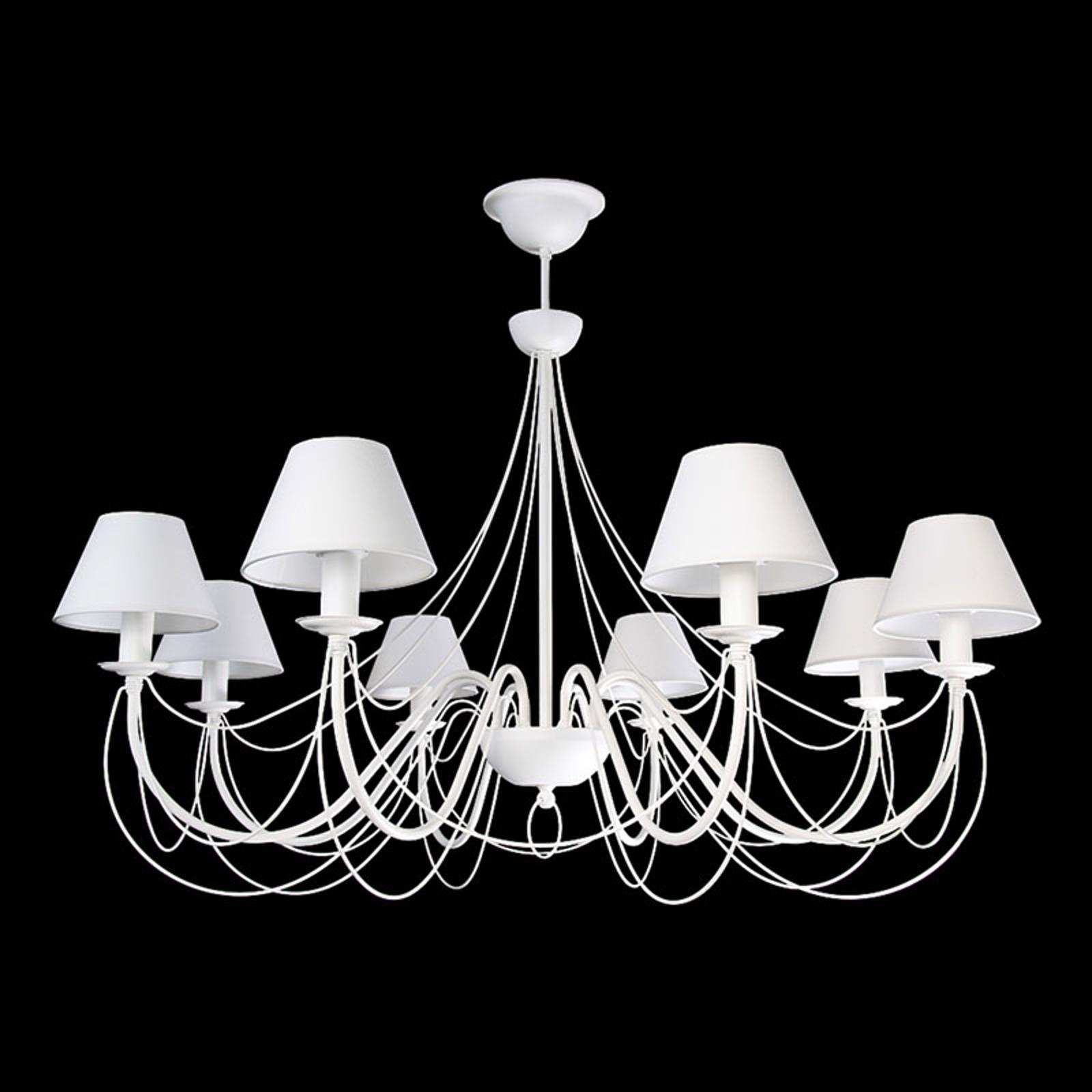 Elegante lampadario Bona in tessuto bianco