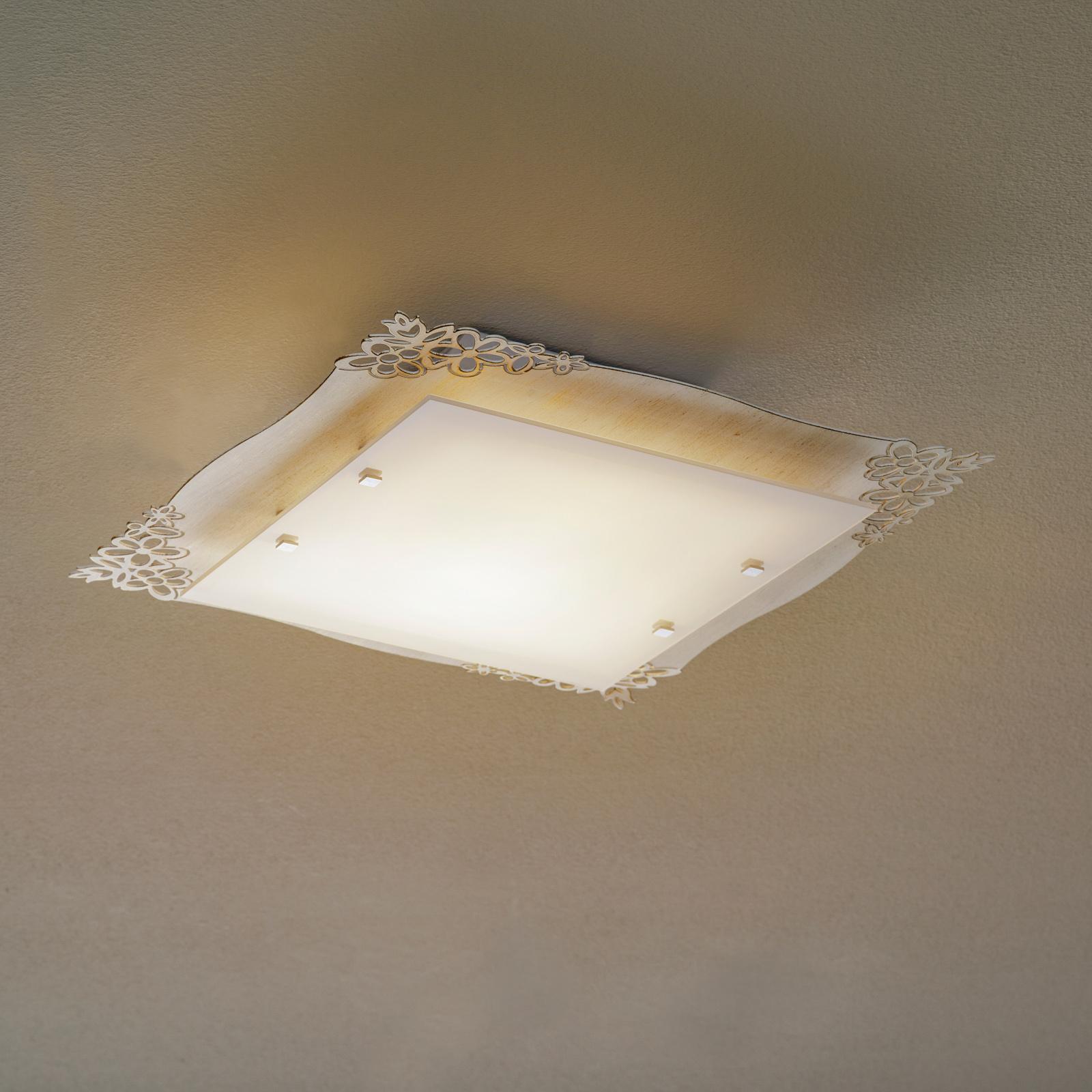 2065/PL41 taklampe, kvadratisk, savana hvit