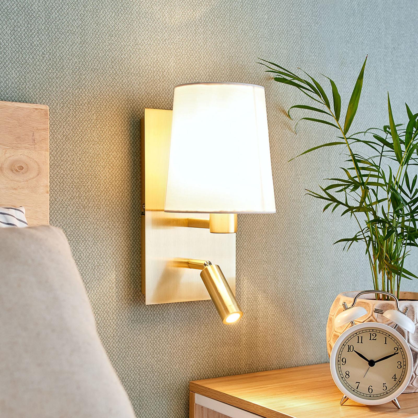 Vägglampa Aiden med LED-läslampa, vit, mässing