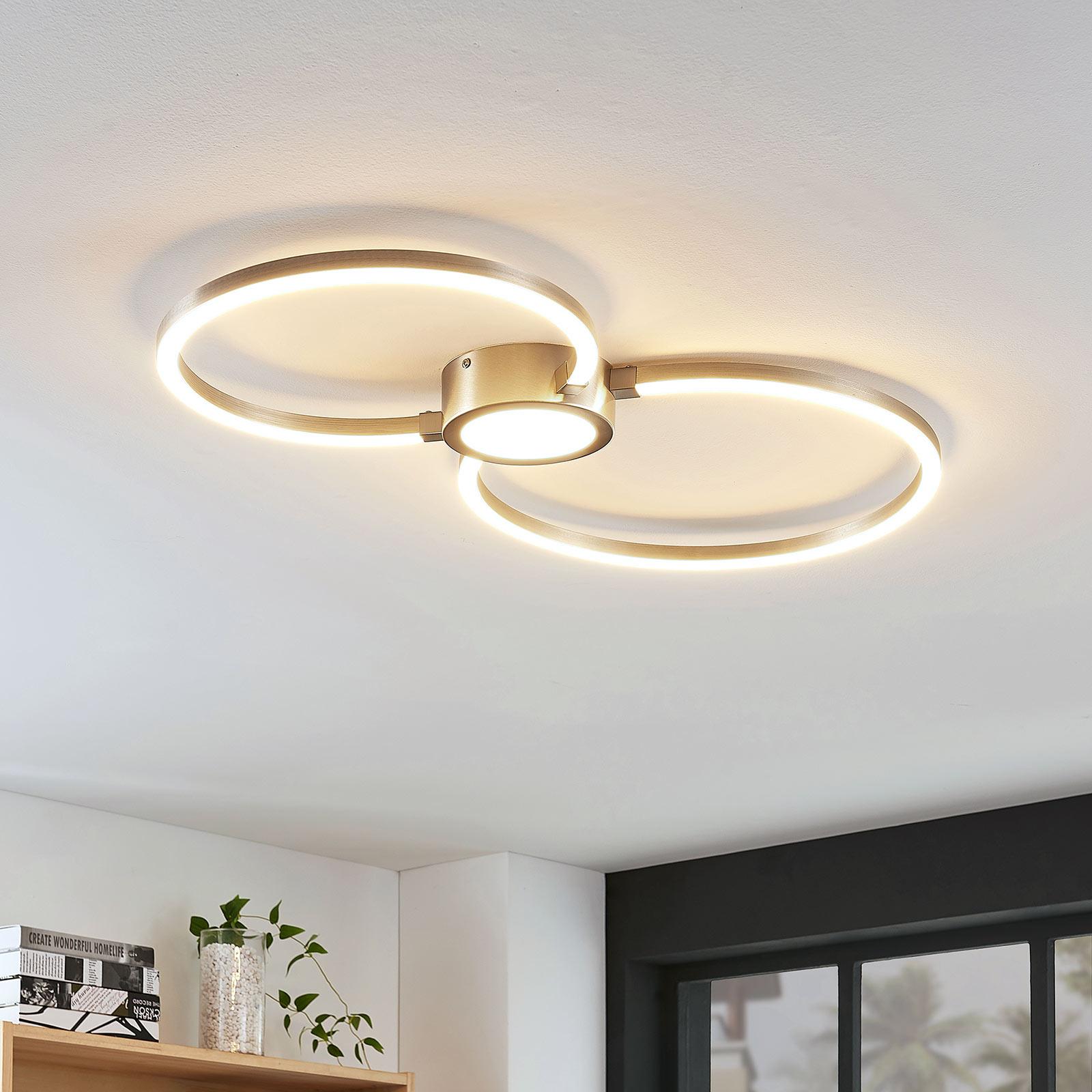 Plafoniera LED Duetto composta da due anelli