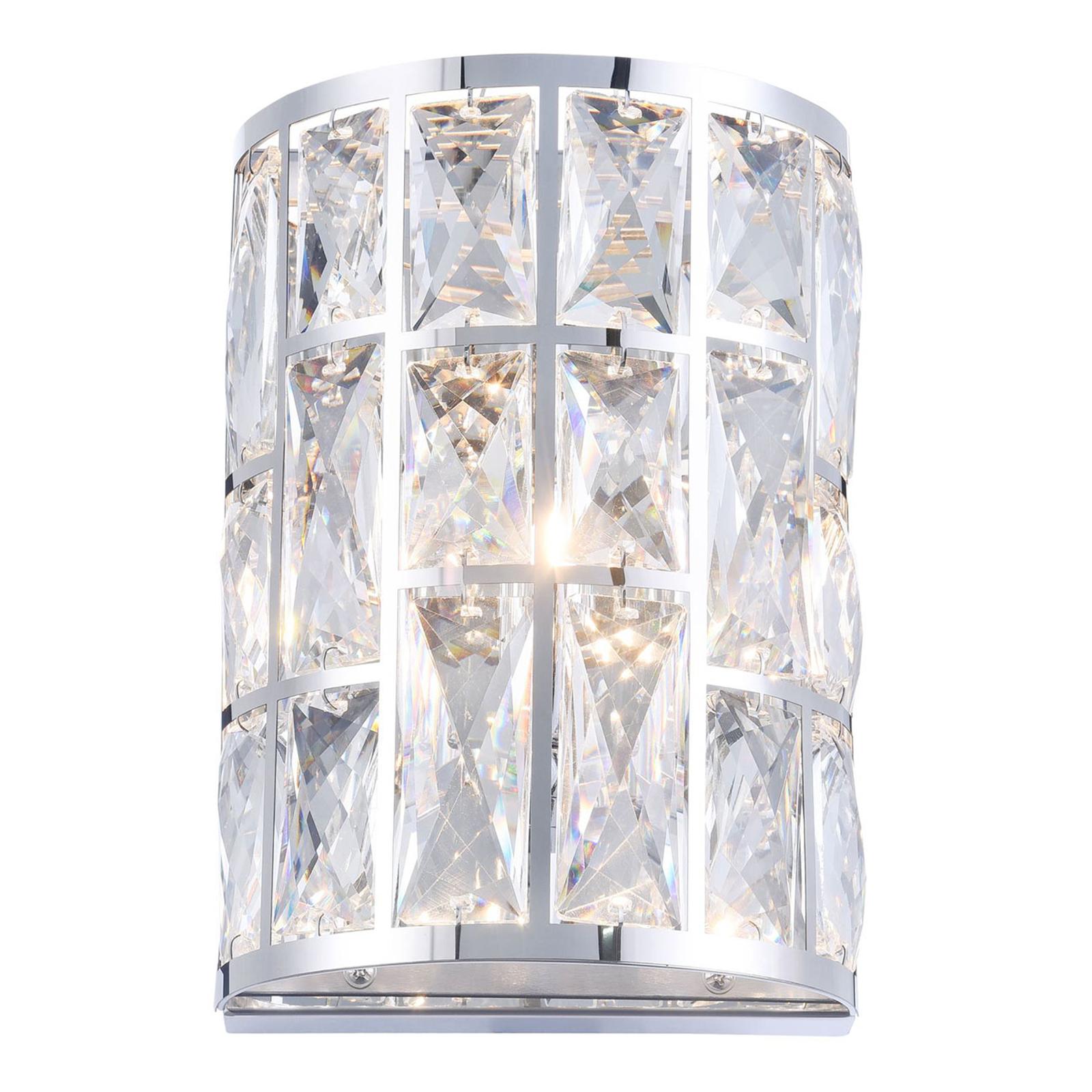 Wandlamp Gelid met kristalglas-ruiten