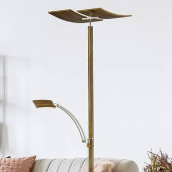 B-Leuchten Duo stojací lampa LED, stmívač, dřevo