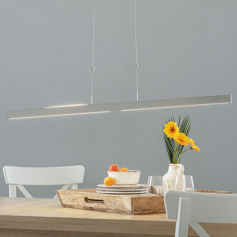 LED-hengelampe Pia gestsensor matt nikkel 95 cm