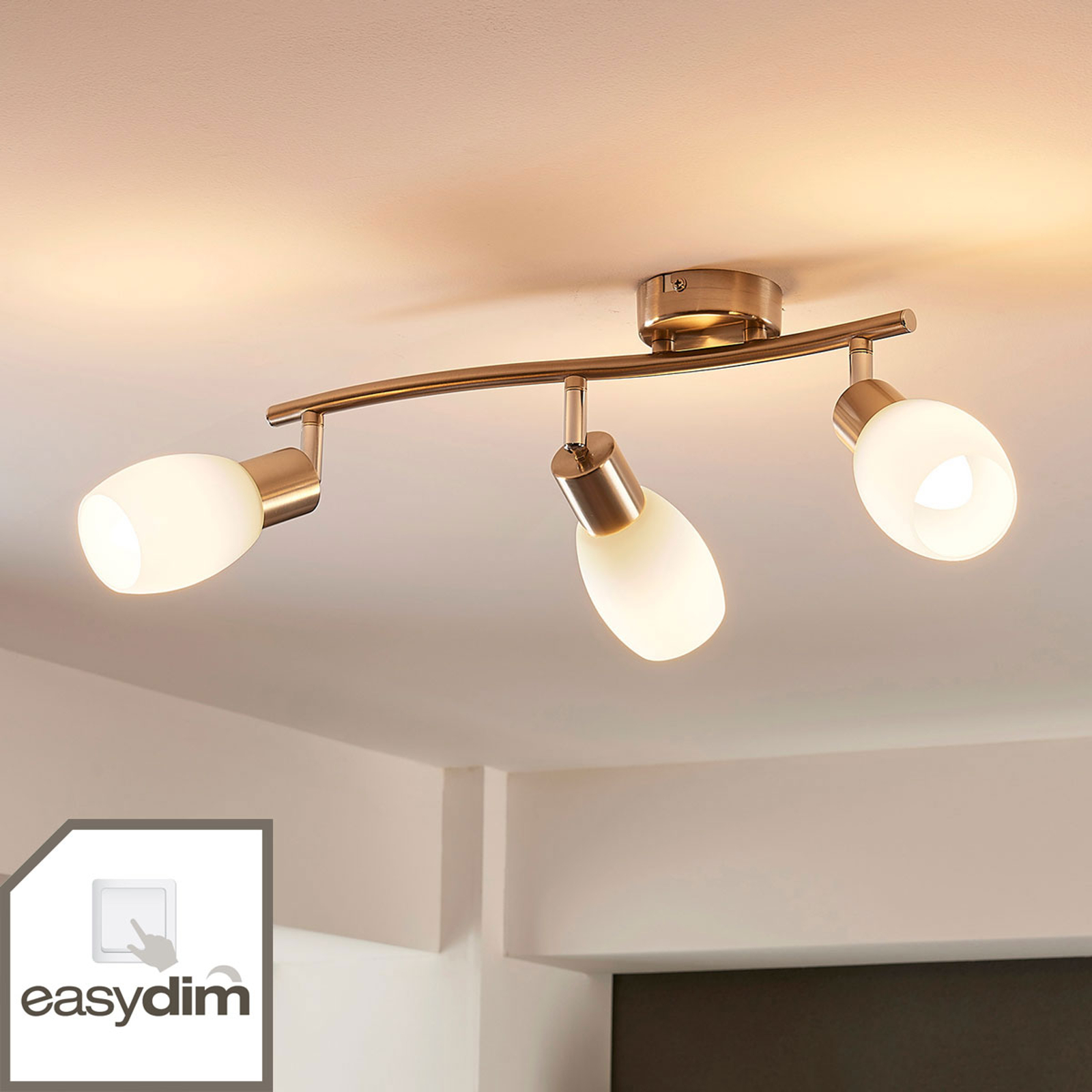 LED-takspott Arda med tre lys, dimbar