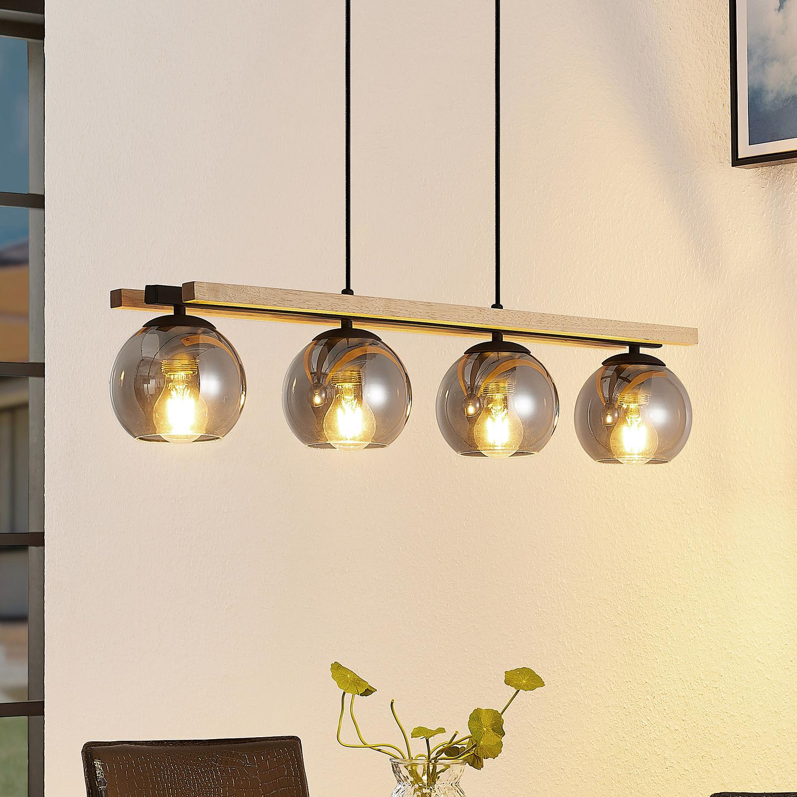Lindby Philika glass-pendellampe, 4 lyskilder